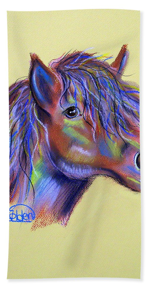 Horse Hand Towel featuring the pastel Spirit Horse by Jo Hoden