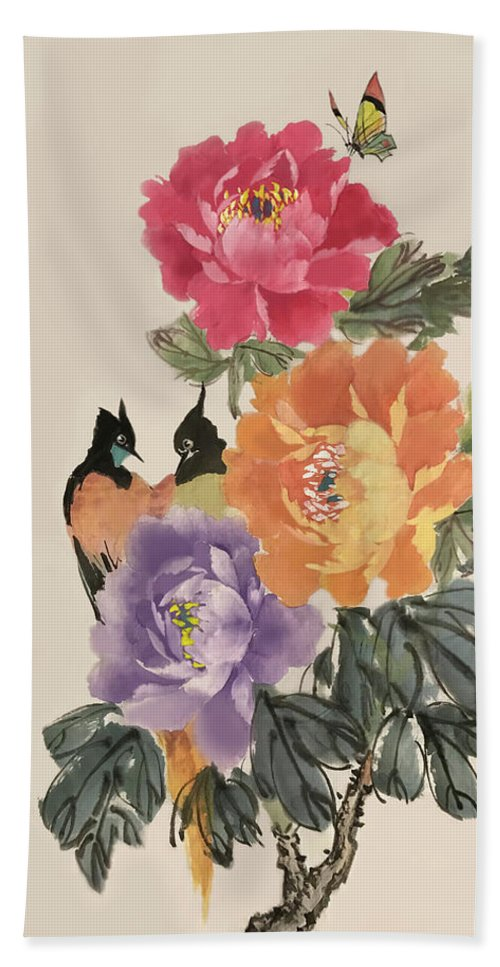 Red Peonies Bath Sheet featuring the painting Spring Melody by Yufeng Wang