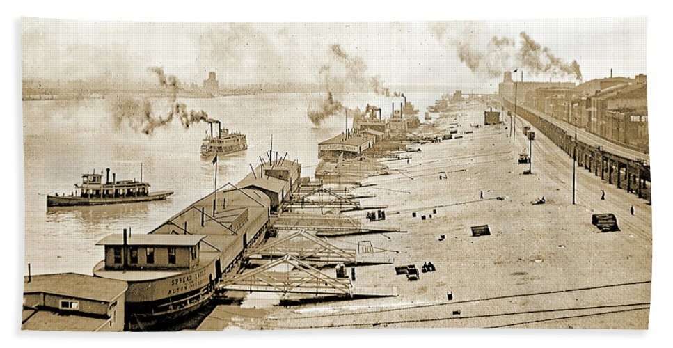 Waterfront Hand Towel featuring the photograph St. Louis Levee, 1904 by A Gurmankin