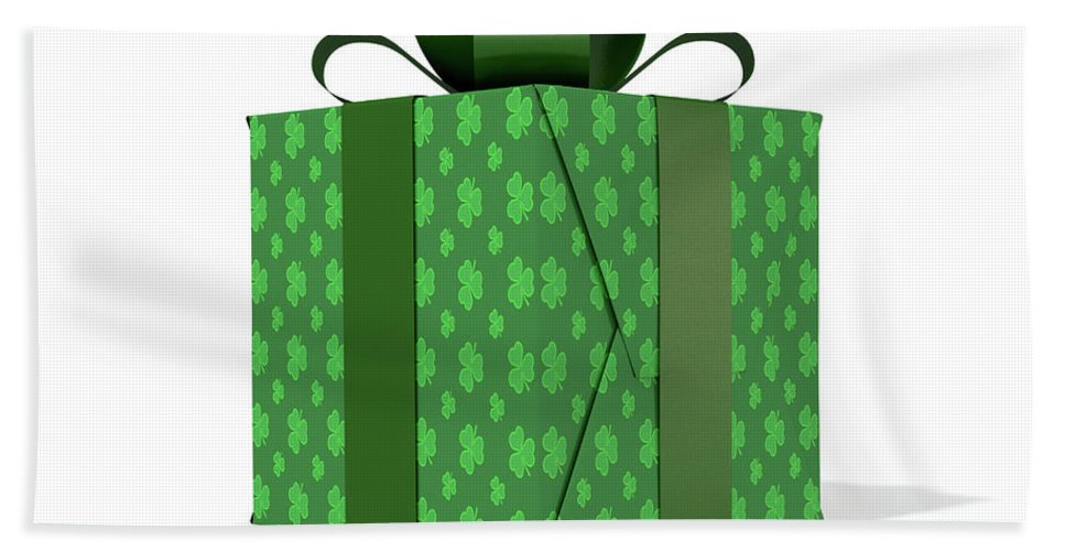 Present Hand Towel featuring the digital art St Patricks Day Cube Gift by Allan Swart