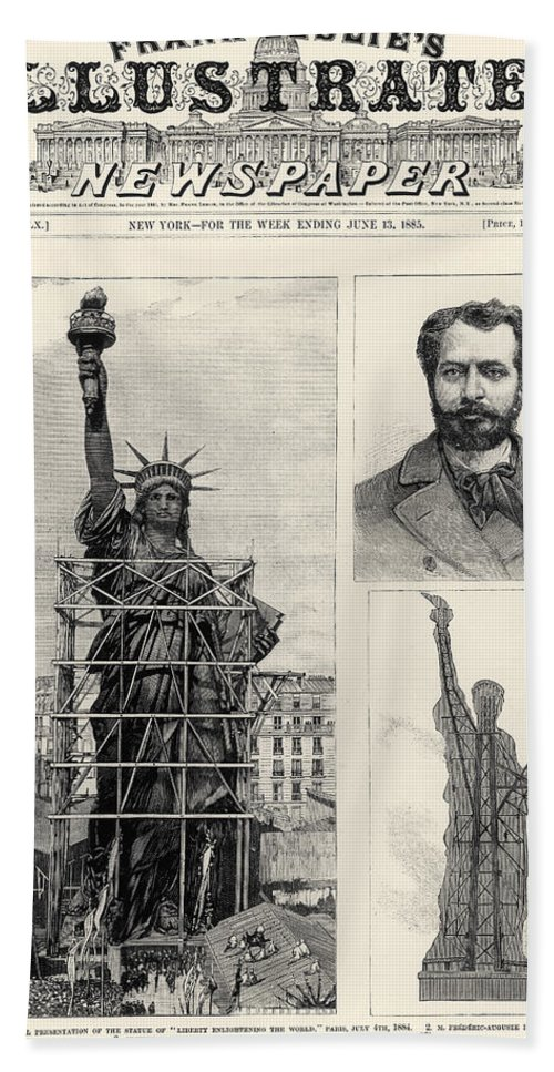 1885 Hand Towel featuring the photograph Statue Of Liberty, 1885 by Granger