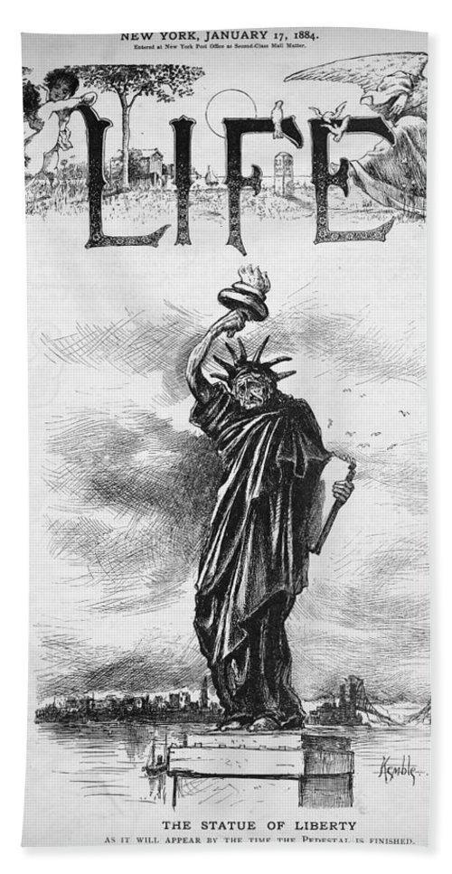 1884 Bath Sheet featuring the photograph Statue Of Liberty Cartoon by Granger