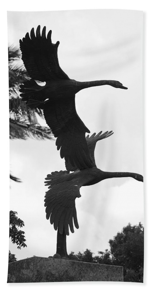 Black And White Bath Sheet featuring the photograph Stone Birds by Rob Hans