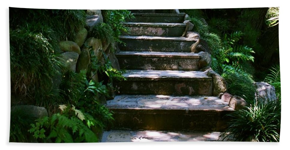 Nature Bath Sheet featuring the photograph Stone Steps by Dean Triolo