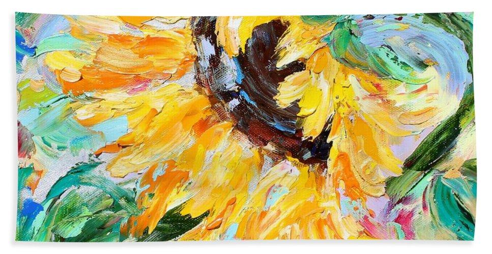 Sunflower Hand Towel featuring the painting Sunflower Joy by Karen Tarlton