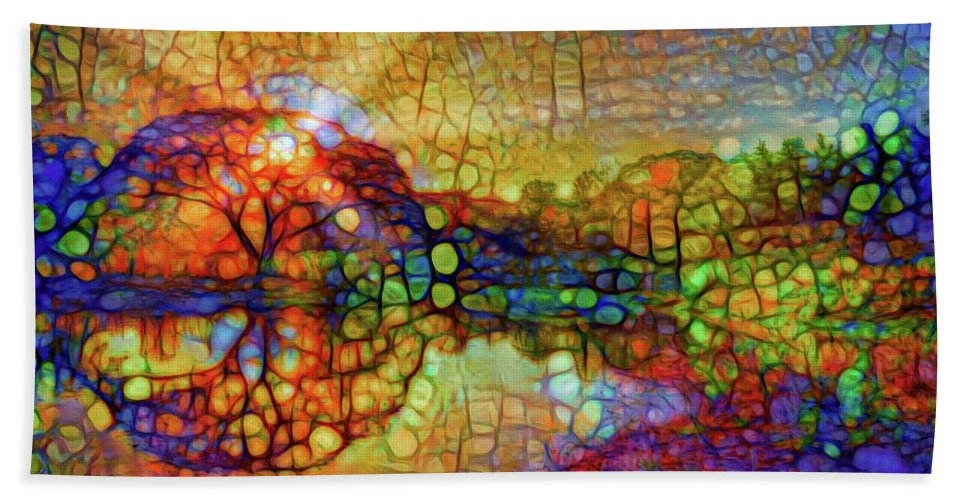 Light Through The Tree Bath Sheet featuring the mixed media Sunset Light by Lilia D