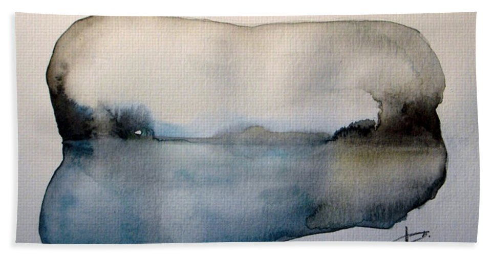 Landscape Bath Sheet featuring the painting Sunset On The Lake by Vesna Antic