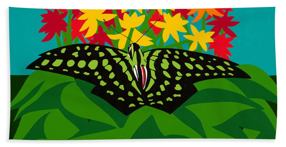 Butterflies Hand Towel featuring the painting Tailed Jay by Synthia SAINT JAMES