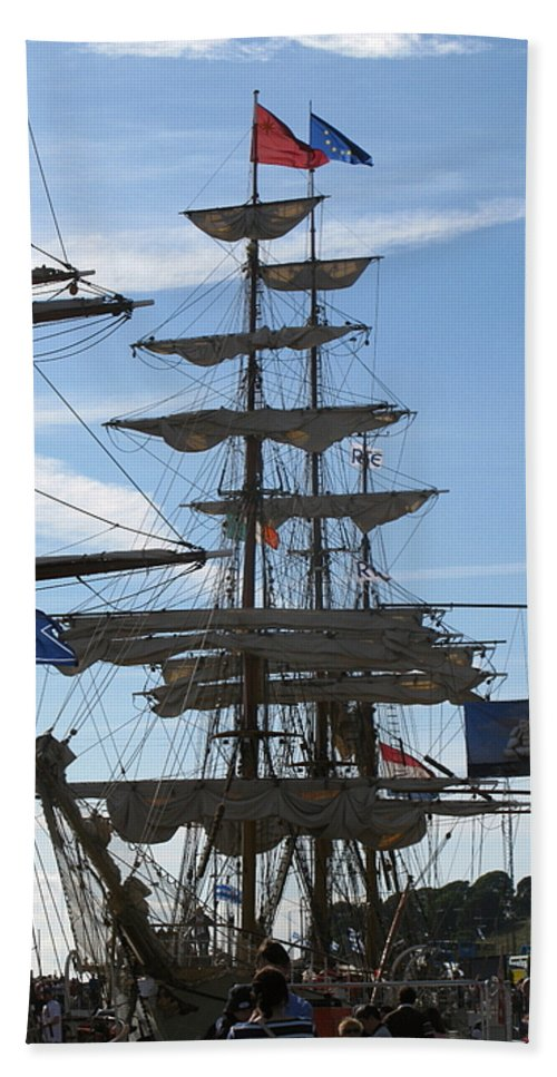 Tall Ship Hand Towel featuring the photograph Tall Ship by Maria Joy