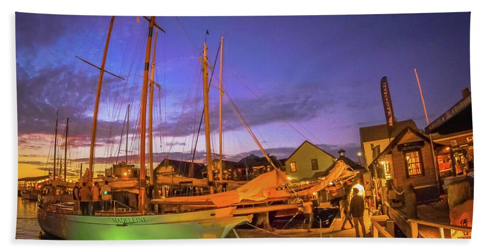 Skyline Bath Sheet featuring the photograph Tall Ships And Yahts Moored In Newport Harbor by Alex Grichenko