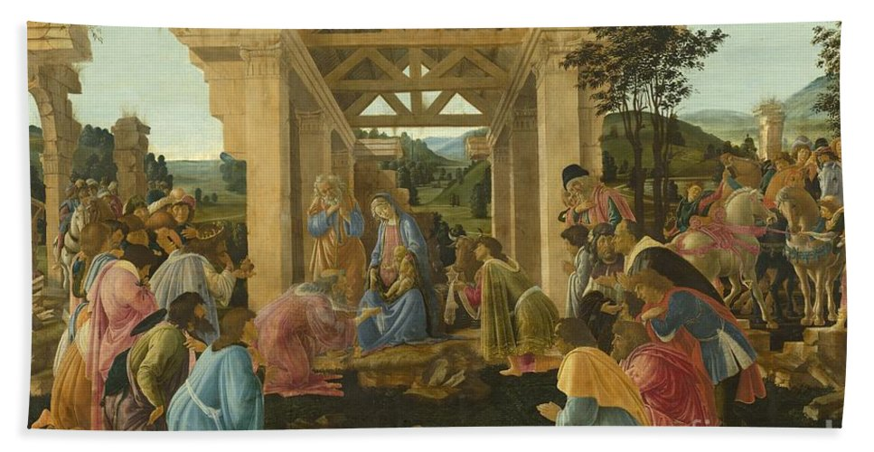Hand Towel featuring the painting The Adoration Of The Magi by Sandro Botticelli