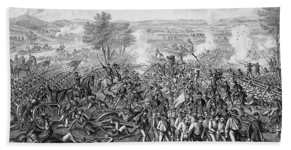 Civil War Bath Towel featuring the mixed media The Battle Of Gettysburg by War Is Hell Store