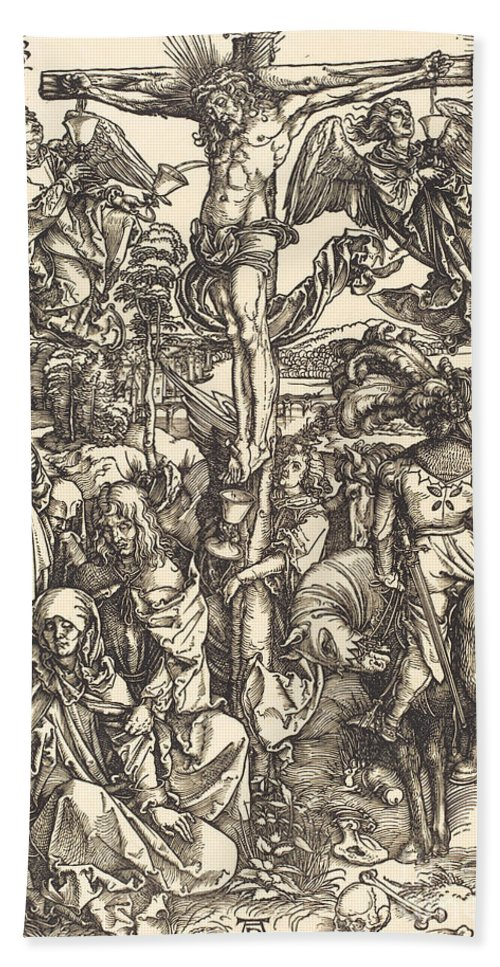 Hand Towel featuring the drawing The Crucifixion by Albrecht D?rer