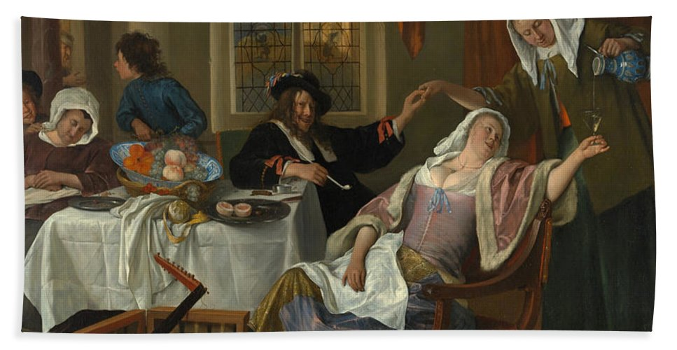 Arts Hand Towel featuring the painting The Dissolute Household by Jan Steen