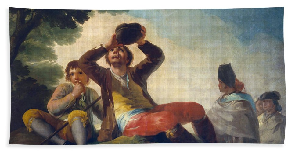 Child Hand Towel featuring the painting The Drinker by Francisco Goya