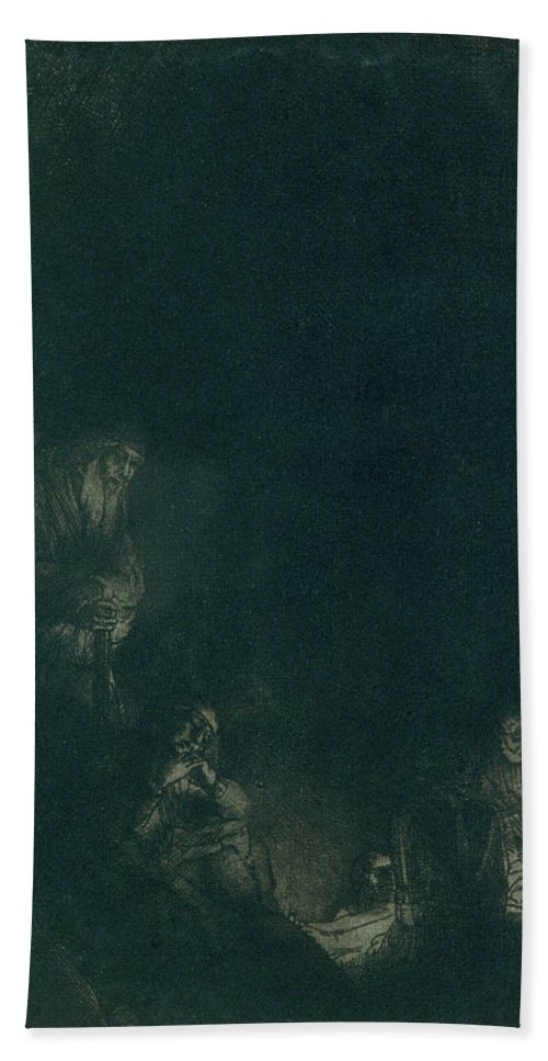 The Entombment Bath Sheet featuring the painting The Entombment by Rembrandt van Rijn
