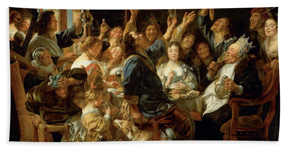 Animal Hand Towel featuring the painting The Feast Of The Bean King by Jacob Jordaens