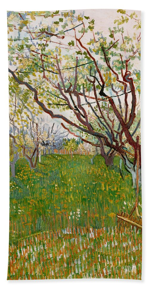 Dutch Hand Towel featuring the painting The Flowering Orchard by Vincent van Gogh