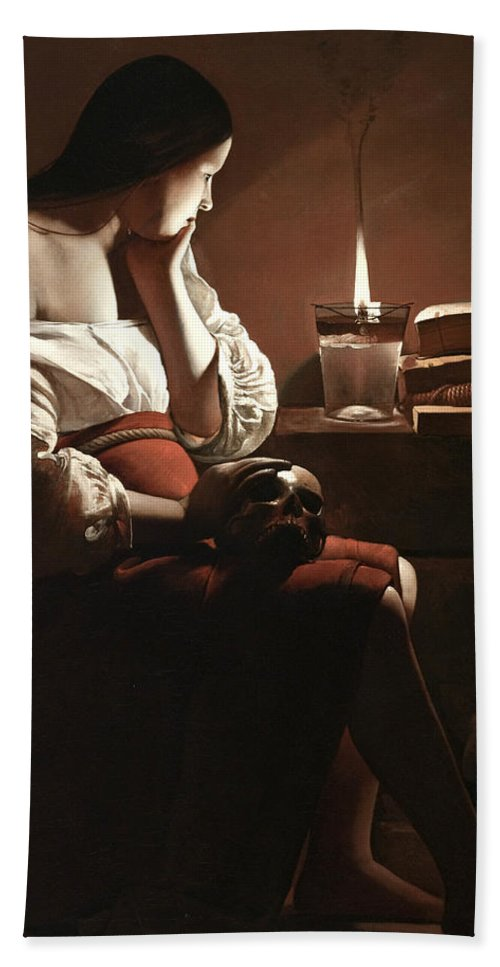 The Magdalen With The Smoking Flame Bath Sheet featuring the painting The Magdalen With The Smoking Flame by Georges de la Tour