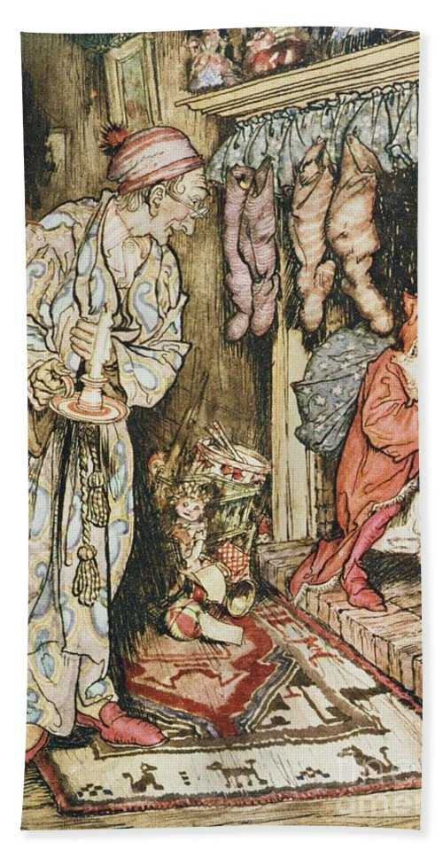 Xmas Hand Towel featuring the drawing The Night Before Christmas by Arthur Rackham