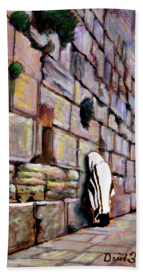 The Wailing Wall Bath Sheet featuring the painting The Power Of One by David Zimmerman