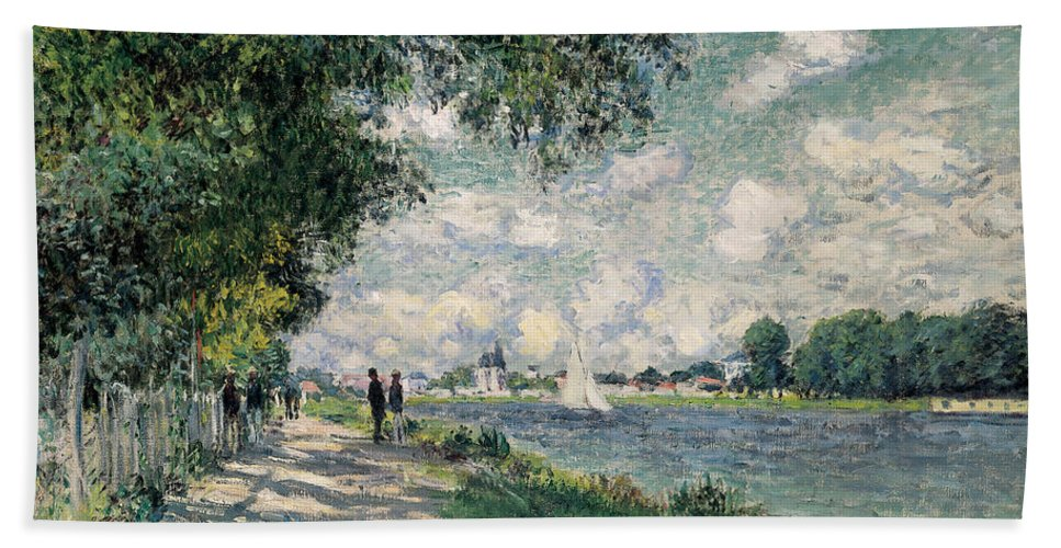 Riverseine;argenteuil;riverbank;path;track;summer;sunshine;shadow;shadows;sailing Hand Towel featuring the painting The Seine At Argenteuil by Claude Monet