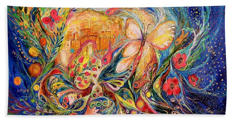 Original Bath Sheet featuring the painting The Shining Of Jerusalem by Elena Kotliarker