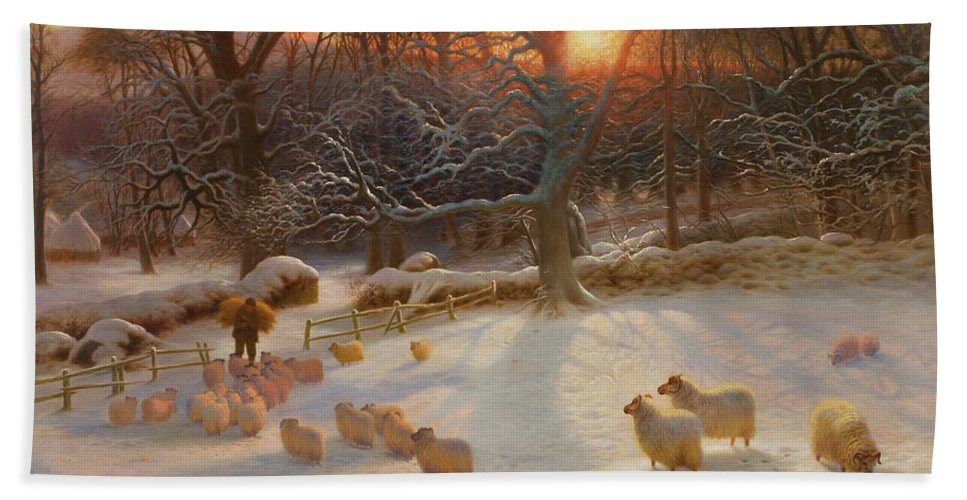 Shepherd Bath Towel featuring the painting The Shortening Winters Day Is Near A Close by Joseph Farquharson