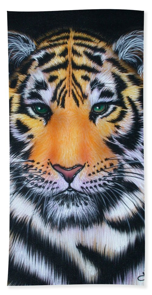 Tiger Bath Sheet featuring the painting Tiger 1 by Angie Hamlin