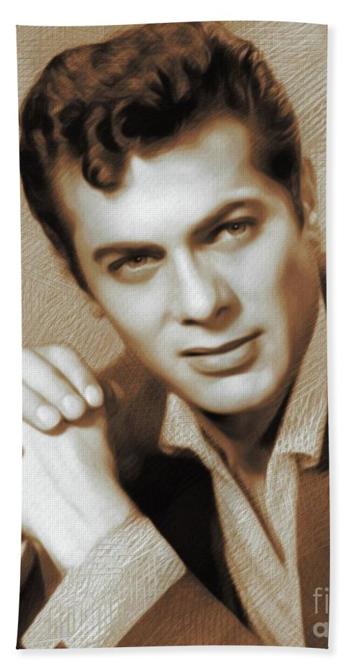 Tony Bath Towel featuring the painting Tony Curtis, Actor 2 by John Springfield