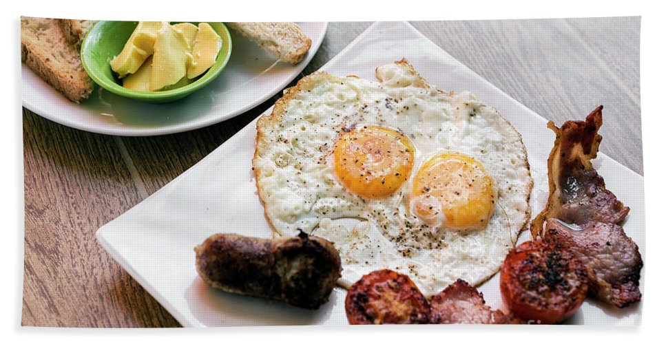 Bacon Hand Towel featuring the photograph Traditional English British Fried Breakfast With Eggs Bacon And by Jacek Malipan