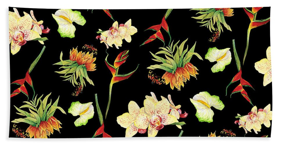 Orchid Hand Towel featuring the painting Tropical Island Floral Half Drop Pattern by Audrey Jeanne Roberts