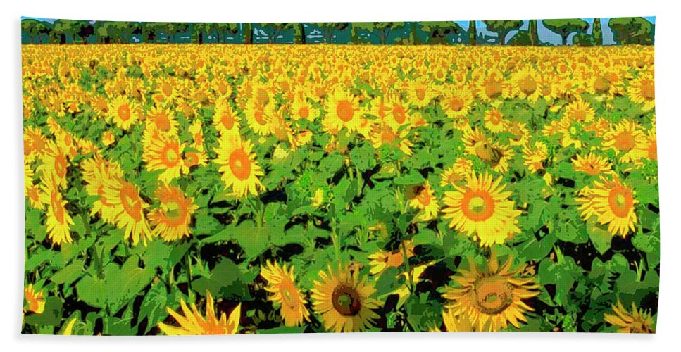 Tuscany Sunflowers Bath Sheet featuring the mixed media Tuscany Sunflowers by Dominic Piperata