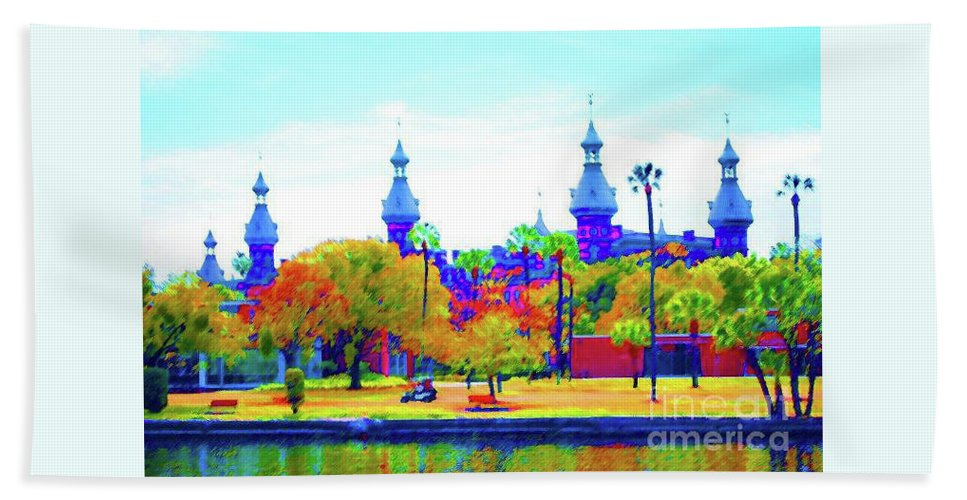 University Hand Towel featuring the painting University Of Tampa by Jost Houk