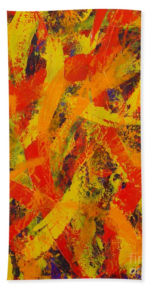 Abstract Hand Towel featuring the painting Untitled by Dean Triolo
