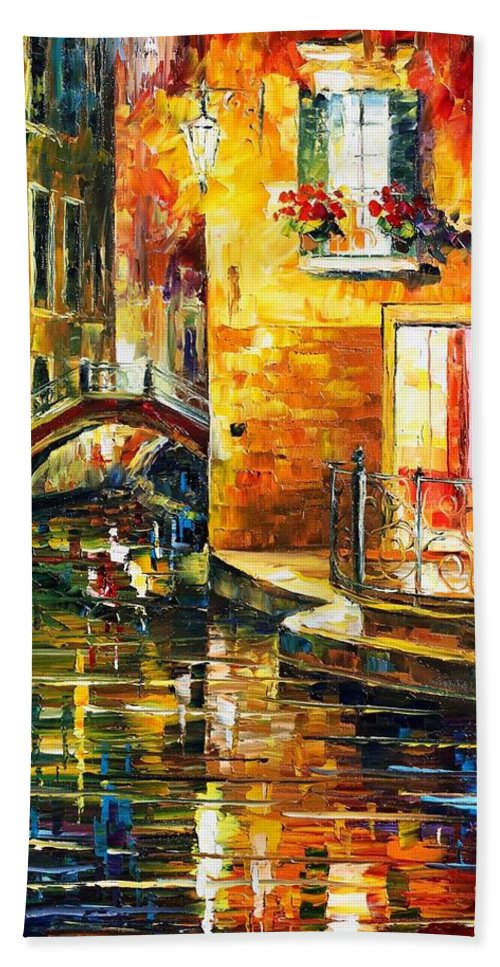 Afremov Hand Towel featuring the painting Venice by Leonid Afremov