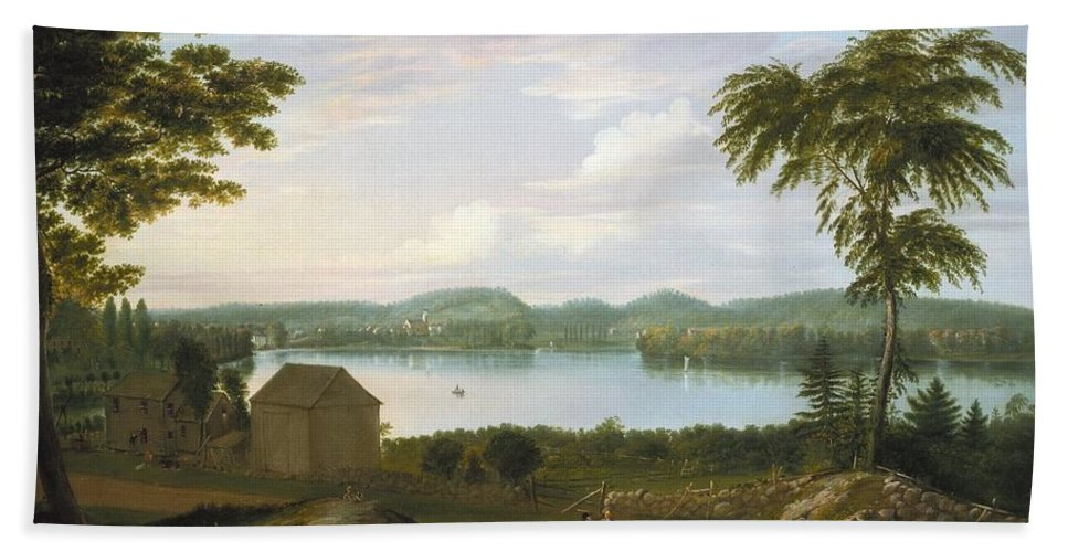 Alvan Fisher (american Bath Sheet featuring the painting View Of Springfield On The Connecticut River by Alvan Fisher