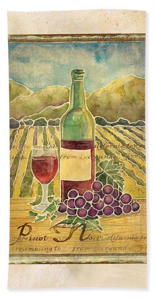 Wine Hand Towel featuring the painting Vineyard Pinot Noir Grapes N Wine - Batik Style by Audrey Jeanne Roberts
