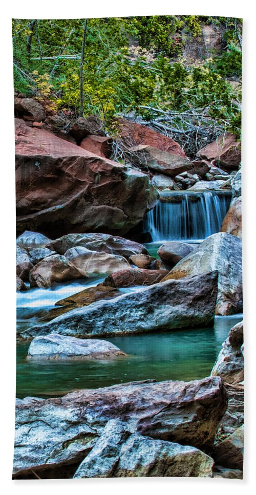 Zion Hand Towel featuring the photograph Virgin River Zion by George Buxbaum