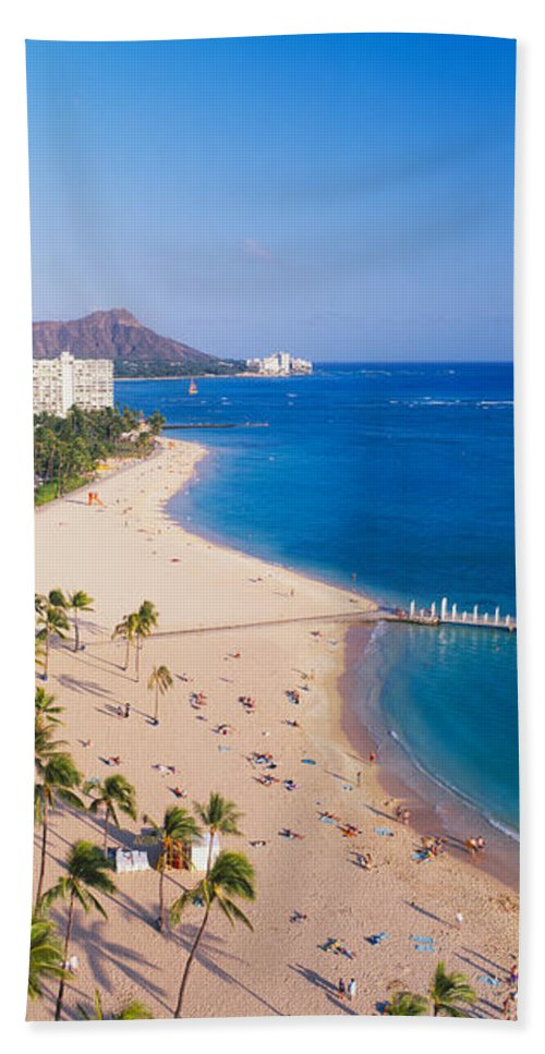 Photography Bath Sheet featuring the photograph Waikiki Beach And Diamond Head by Panoramic Images