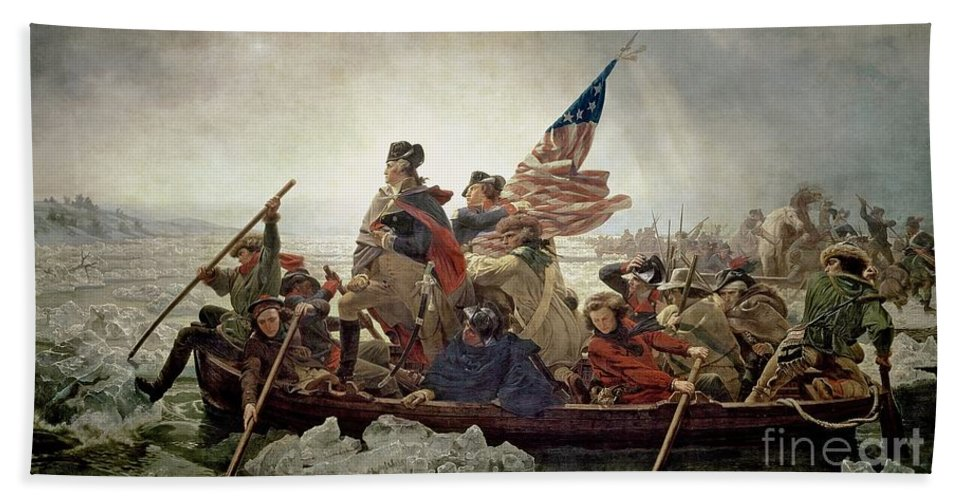 American War Of Independence; Ice Floes; Boats; Flag; American; Floe; Boat; Rowing; Banner; Flag; Colonial Troops; Troop; Winter; Army; American Revolutionary War; Battle Of Trenton; Stars And Stripes; Intrepid; Brave; New Jersey; Soldiers; Male; Military Uniform; Emanuel Gottlieb Leutze Bath Sheet featuring the painting Washington Crossing The Delaware River by Emanuel Gottlieb Leutze