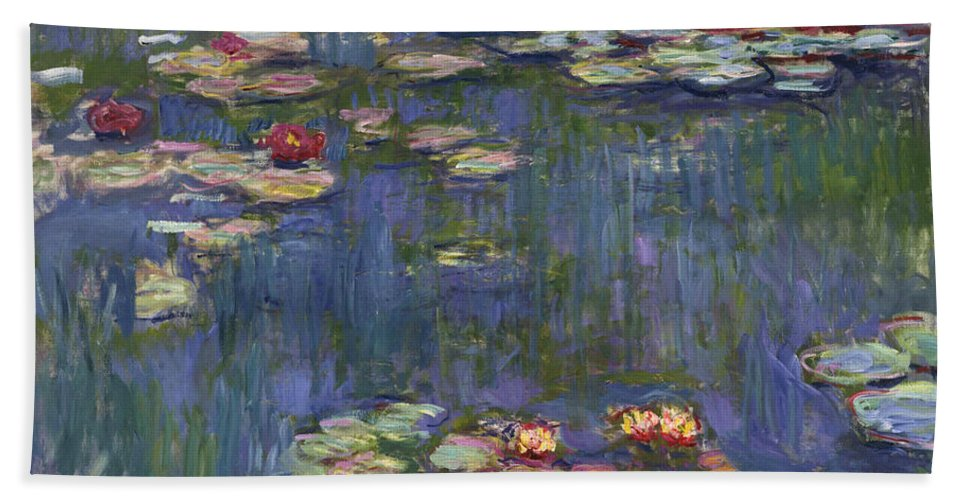 Monet Bath Towel featuring the painting Water Lilies, 1916 by Claude Monet