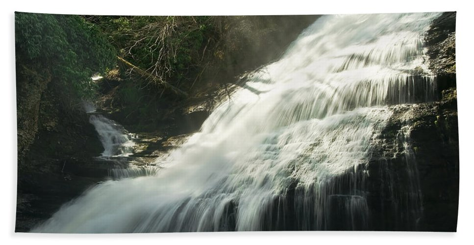 Aqua Bath Sheet featuring the photograph Waterfall by Svetlana Sewell