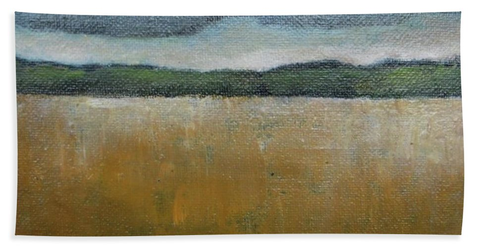 Wheat Field Bath Sheet featuring the painting Wheat Field by Vesna Antic