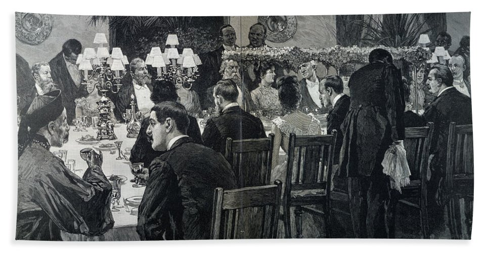 1888 Hand Towel featuring the photograph White House: State Dinner by Granger