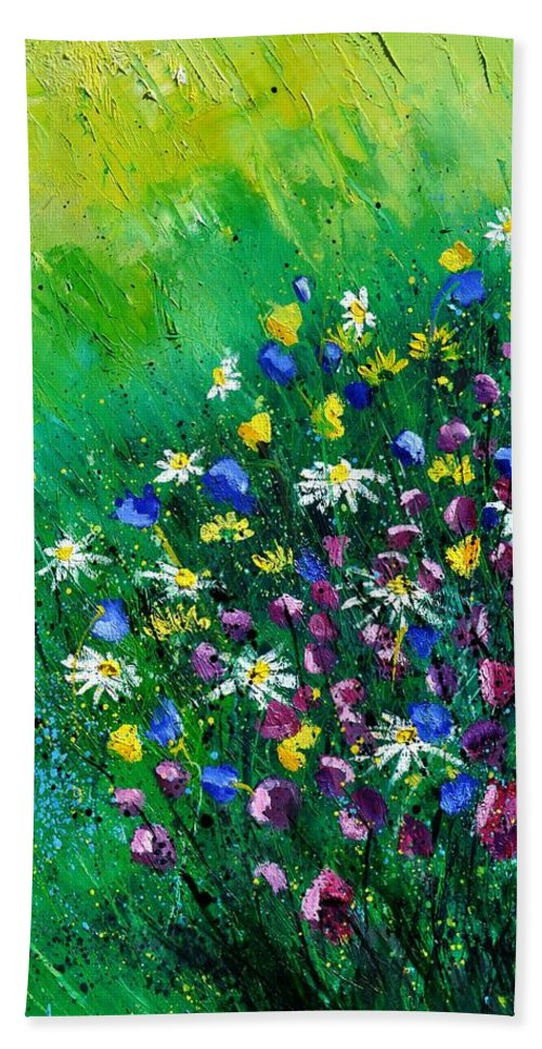 Flowers Hand Towel featuring the painting Wild Flowers by Pol Ledent