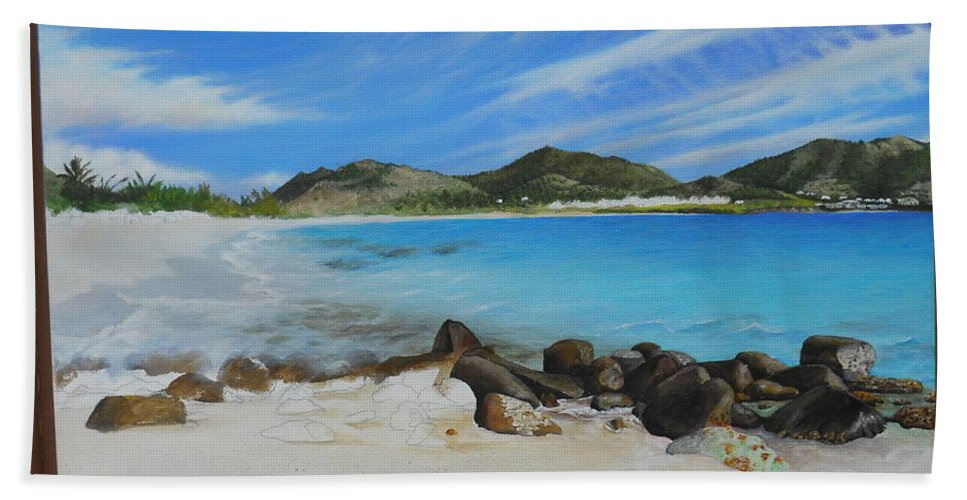Hand Towel featuring the painting Wip- Orient Beach by Cindy D Chinn