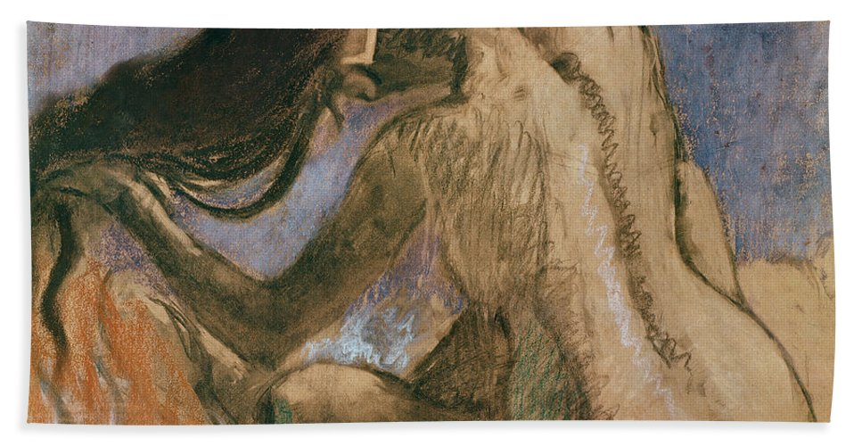 Woman Combing Her Hair Bath Sheet featuring the pastel Woman Combing Her Hair by Edgar Degas