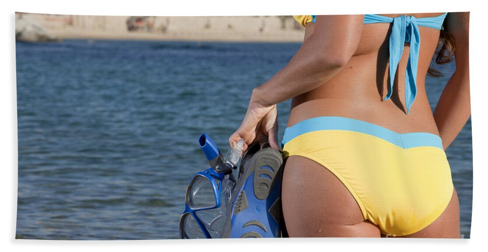 Snorkeling Bath Sheet featuring the photograph Woman Getting Ready To Go Snorkeling by Anthony Totah