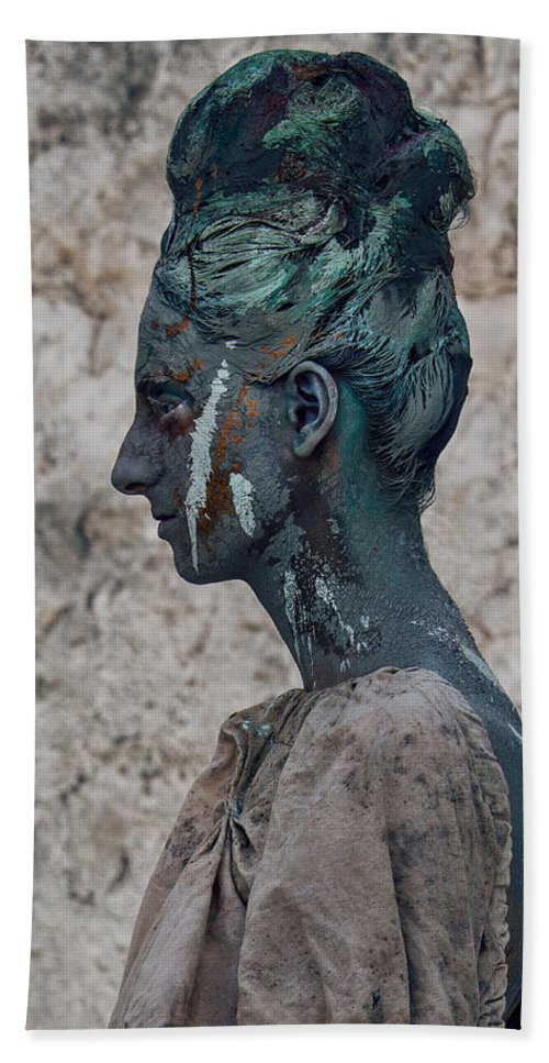Antik Bath Towel featuring the photograph Woman In Bronze Statue Look With Patina Body Paint by Veronica Azaryan